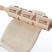 Happy little sheep Embossing Rolling Pin Christmas 3D Wooden Rolling Pin for Baking(Christmas Tree)