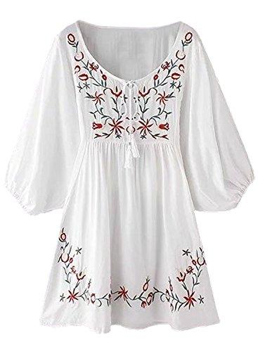 Futurino Damen Bohemian Stickerei Floral Tunika Shift Bluse Flowy Minikleid (S, Weiß-1)