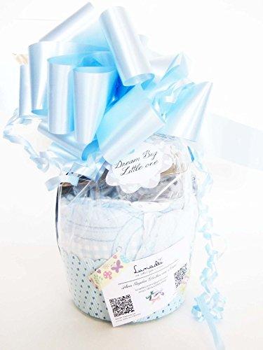 uller Suavinex Maxi-Muffin | Baby-Dusche-Geschenk-Idee | Gedacht für Geburt oder Taufe mit dem Namen des Babys personifiziert | Farbe Blau, Version für Maschietti ()