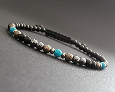Bracelet fin homme pierres naturelles, pyrite, hématite, onyx, howlite turquoise