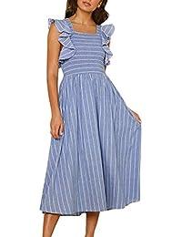 e8feb39736b8 waitFOR Vestiti Donna Elegante Cerimonia Estivo Vestito Donna Hot -Abito  Lungo a Righe con Stampa