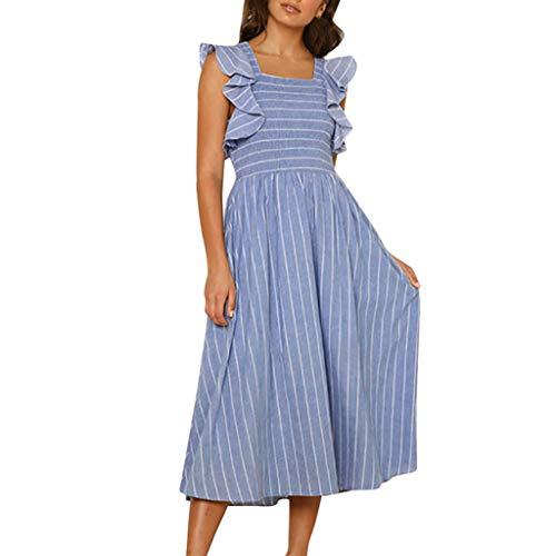 Vestito Donna Eleganti BANAA Vestiti Casual Abito A Righe Vestire Senza  Maniche Abiti A Vita Alta 43217c7f8614