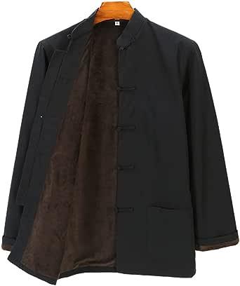 Winter Tang Suit Pure Cotton Plus Velvet, Men Kung Fu Uniform Tai Chi Uniform Long Sleeve Chinese Traditional Clothes Tops,Hanfu Jacket Kung Fu Clothing Shirt Coat