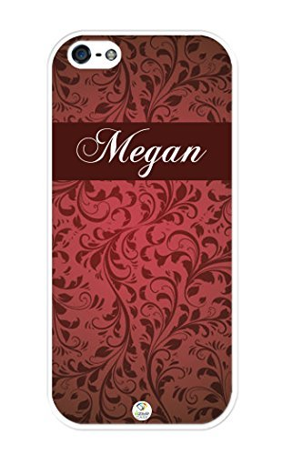 Personalisierte Burgund Floral Muster Gummi iPhone 5/iPhone 5S Fall - Passend für iPhone 5, iPhone 5S T-Mobile, at & T, Sprint, Verizon und International, iPhone SE, Weiß -
