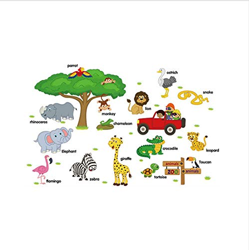 HHKX100822 Dschungel-Thema Wandaufkleber Kinderzimmer Wald Tiere Vinyl Kinderzimmer Aufkleber Baby Zimmer Kinderzimmer Dekor (Baby Zimmer Dschungel-thema)