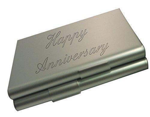 gravé Joyeux Anniversaire aluminium argent étui à cigarettes avec velours noir Pochette cadeau CCS