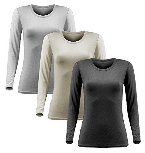 Damen Frauen Langarm T Shirt - 3er Pack - Basic TShirt - Basis Bluse - Tops - 3 in 1 Schwarz + Weiss + Creme