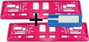 Satz (2 Stück) Kennzeichenhalter - PINK - VERSANDKOSTENFREI! - Premiumqualität! - Nummernschildhalter Kennzeichenträger Nummernschildträger Kennzeichenverstärker Nummernschildverstärker