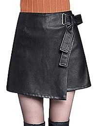 Mxssi Las Mujeres de Cintura Alta de Piel Sintética Bodycon Slim Mini Falda Corta Club Falda Lápiz S-3XL