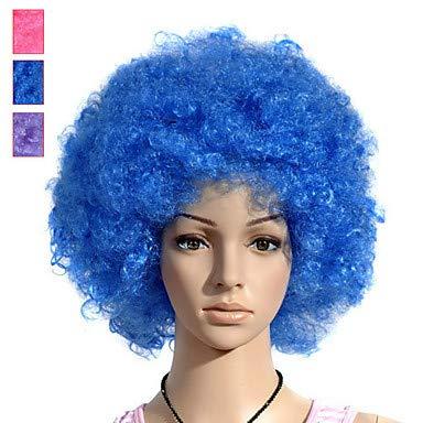 FUHOAHDD Capless kurzen lockigen Afro Clowns oder Sportfan Perücke, Blue
