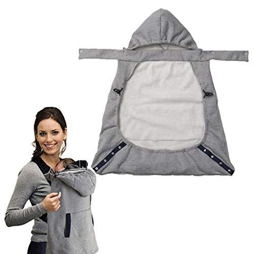 Bandoleras Portabebés para Recién Nacido Invierno Cálido a Prueba de Viento Capucha Baby Sling Portador con Doble Bolsillos Delanteros