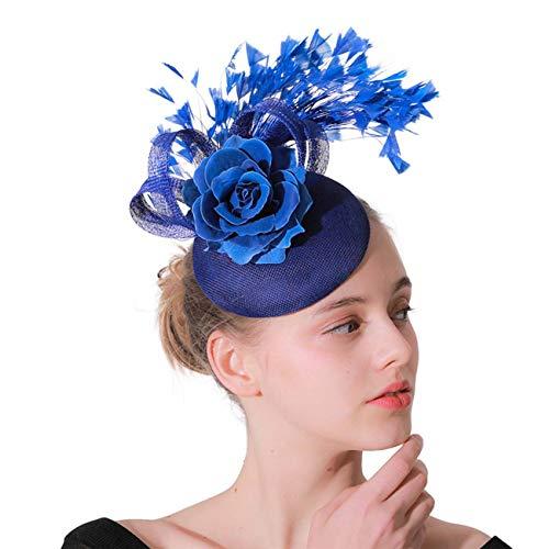 Feder Faszinatoren für Frauen Pillbox Hut für die Hochzeit Party Derby Königliches Bankett Gaze-Stirnband Braut Haarschmuck Hanf Garn Hut Tanz Kopfschmuck ()