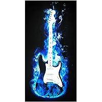 UniqueTowel Toalla de baño Ducha - Guitarra eléctrica en Blanco y Negro con Humo - Motivo