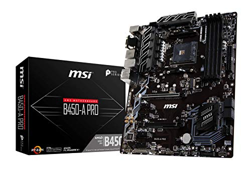 MSI B450-A Pro - Plaque base (AM4, AMD B450, 1 x PCI-E 3.0 Fente x16 + 1x PCI-EE 2.0 x16, DDR4 up 3466 MHz, HMDI, 6 x SATA 6 Gb / s)