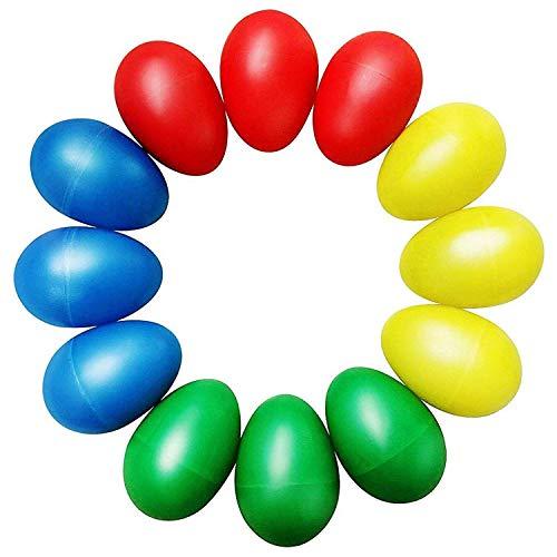 Cikuso Agitatori di plastica 12 pz Messi con 4 Colori Differenti, percussioni Musicali Maracas dell'uovo Bambino Giocattoli per Bambini