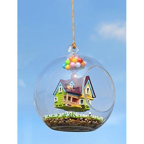 Zyurong in vetro realizzato a mano in legno casa fai da te Regali di Natale creative Handcraft costruzione giocattoli con attivazione vocale luci