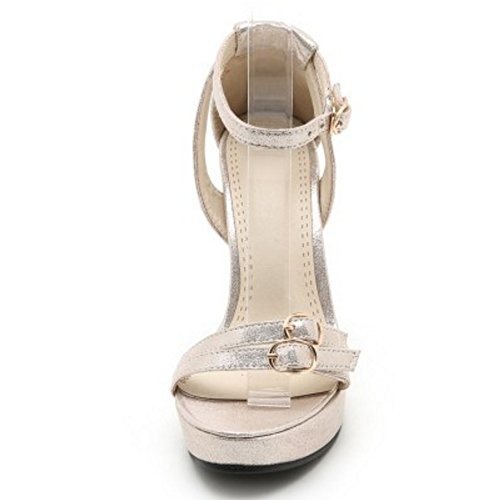TAOFFEN Femmes Talons Hauts Sandals Soiree Elegant Bloc Sangle De Cheville Ete Chaussures Or