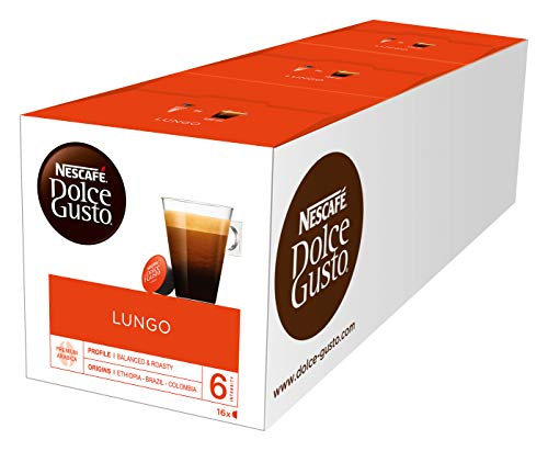NESCAFÉ Dolce Gusto Lungo Kaffeekapseln (100 Prozent Arabica Bohnen, Feine Crema und kräftiges Aroma, Schnelle Zubereitung, Aromaversiegelte Kapseln) 3er Pack (3 x 16 Kapseln)