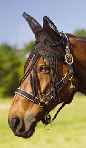 Amesbichler Fliegenmaske mit Fransen und Ohren | Fliegenhaube | Pferde Netzhaube Fliegenohrenschutz