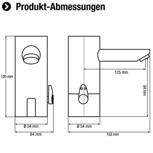 Cornat –  Infrarot Waschtischarmatur, Sensorarmatur, Temperaturregler, Batteriebetrieb, Made in Germany, Chrom - 2