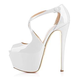 Damen Open Toe Plateau Stiletto High Heel Pumps Schluepfen Knoechel Cross Strap Buckle Party Schuhe (39, weiss)