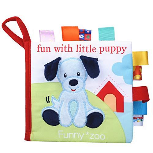 Baby-Tuch-Bücher - Früherziehung Spielzeug Aktivität Crinkle-Tuch-Buch für Kleinkind Interactive Soft Book für Babys Tuch-Buch Baby-Geschenk, Hund