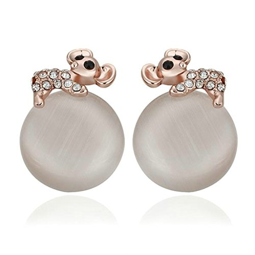 AMDXD Juwelier Rosegold Vergoldet Frauen Ohrringe Maus Ball Opal