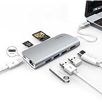 Bqeel hub USB C con 3 porte USB 3.0 , 1 connettore di tipo C (funzione di caricamento), 1 connettore HDMI (4K risoluzione), lettore di schede SD 1, 1 micro lettore di schede SD, 1 Gigabit LAN adatti per il tipo C Computer e tablet come MacBook Air, MacBook Pro, Mac Mini, iMac, MacPro (compatibile anche con il più nuovo Macbook Pro 2016) (Gray)