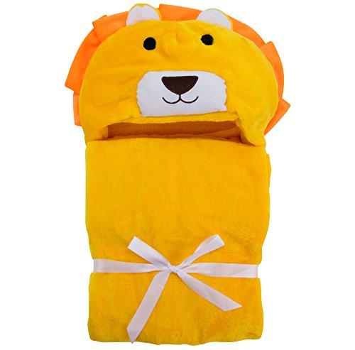 Lexikind Baby Kapuzen-Handtuch Mädchen + Jungen: Kuscheliges Kapuzenbadetuch - Baby-Handtuch mit Kapuze (Gelber Löwe)