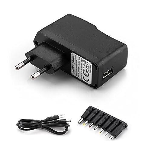Aukru 8 en 1 Chargeur USB 5V 2A Adaptateur Secteur avec 8 embouts Connecteur à d