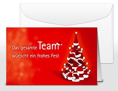 Weihnachtskarten Team mit Umschlag, Set: 50 Stück hochwertige Klappkarten (Querformat 19×12 cm groß) & Umschläge, perfekt für originelle Grüße an