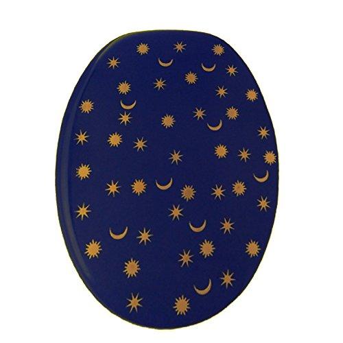 Design Toilettensitz UNIKAT mit Sonne, Mond und Sterne Motiv / Wc Deckel / Toilettendeckel / Sitz / Klositz / Klodeckel / blau, gold / Antibakteriell