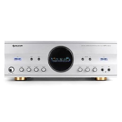 Auna AMP-218 Home Cinema Hifi Amplifier (600W Max, Radio & 2 Mic Inputs) - Silver