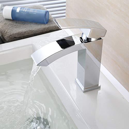 HOMFA Waschtischarmatur Einhelbel Wasserhahn Armatur wasserfall für Badezimmer Waschbecke - 2