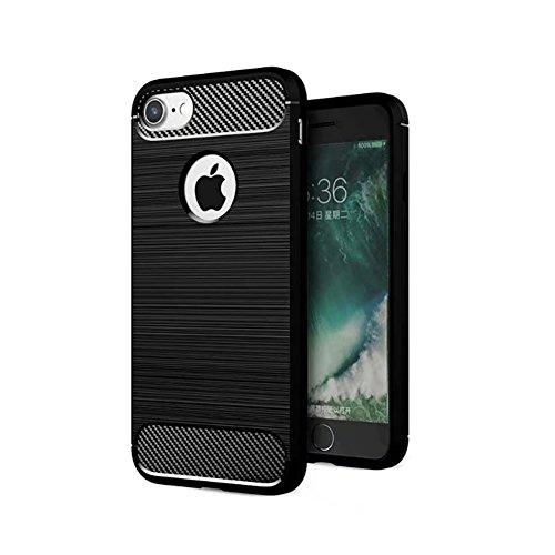 Apple iPhone 8 Coque, TopACE® Ultra Fine Mince Slim Effet Rigida Antichoc Etui Back Case Cover Parfait Design pour Apple iPhone 8 (Gris) Soft Cover-Noir IV
