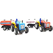 2 Combo Tractor with water Tanker toy kit (Red Blue)