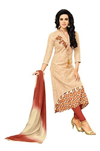 Oomph! Women's Unstitched Chanderi Salwar Suit Dupatta Material - Multi