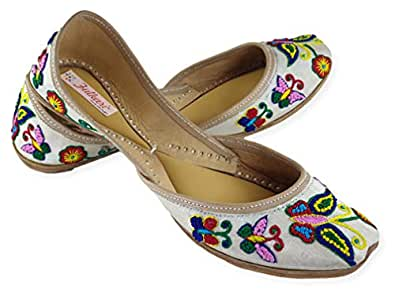 Fulkari Women's Soft Leather Bite and Pinch Free Phulakri Butterfly Beige Multicolor Flat Punjabi Jutti Mojari Ethnic Shoe 36