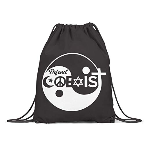 BLAK TEE Religion Coexist Organic Cotton Drawstring Gym Bag Black