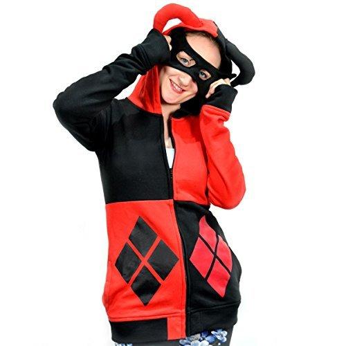 Harley Quinn Maske Kapuze Diamant Schwarz Rot mit Maske Hofnarren Mütze Cosplay - Schwarz/Rot, 8-10 / Small (Harley-damen-hut)
