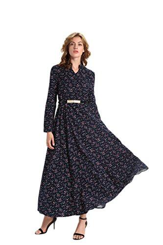 DaBag - Femmes Col cassé Manches Longues Rrétro Taille Serrée L'impression Robe Longue Grande jupe Swing Fleur