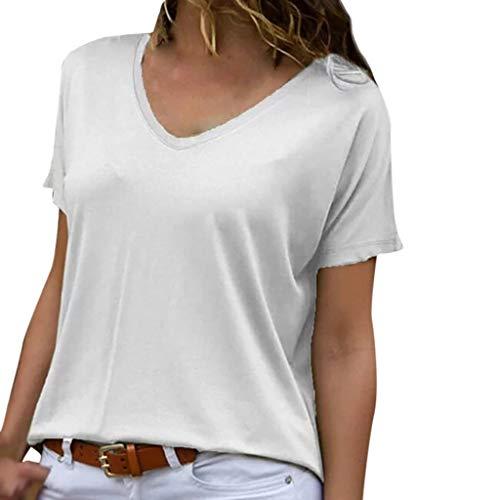 (TOPSELD T Shirt Damen, Frauen Fashion Solid Lose V-Ansatz Kurzschluss HüLsen BeiläUfige Spitzenbluse T-Shirts)