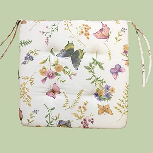 Kamaca Serie Schmetterlinge AUF DER BLUMENWIESE in Creme mit zarten Pastelltönen EIN Schmuckstück in jedem Raum (Stuhlkissen 42x42 cm)
