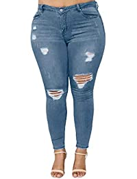 Damen Mode Frauen Plus Size Ripped Stretch Slim Denim Skinny Jeans Hose Mit  Hoher Taille 11d0a85f5e