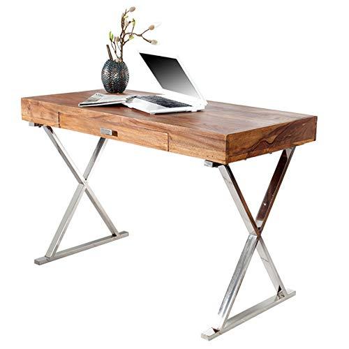 Invicta Interior Design Schreibtisch Grace 120cm Sheesham Stone Finish Tisch Konsolentisch Schminktisch - Moderne Holz-finish Tisch