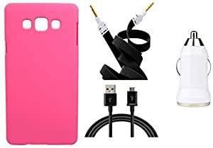 Toppings Hard Case Cover With Car Charger,Data Cable & Aux CableSamsung Galaxy A7 - Pink