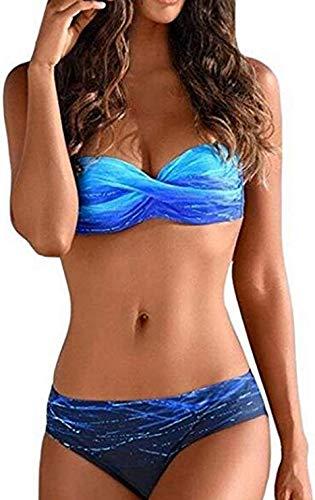 RUICHUANGS Damen Badeanzüge Geraffte Tie Dye Bandeau Trägerlosen Push Up Bikini Set, Zwei Stück Urlaub Bademode Swimsuit