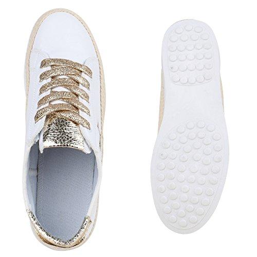 Weiße Damen Sneakers Metallic Stern Glitzer Sportschuhe Weiss Gold