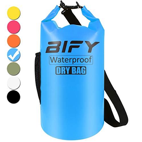 Dry Bag BIFY 5L/10L/15L/20L/25L/30L/40L Leicht Wasserfester Rucksack/Wasserdichte Tasche/Trockensack mit lang Verstellbarer Schultergurt für Boot und Kajak Wassersport Treiben (Blau, 10L)