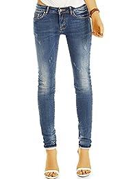 Bestyledberlin Damen Used Look Skinnyjeans, Enge aufgeraute Jeans, Basic Röhrenjeans j15g